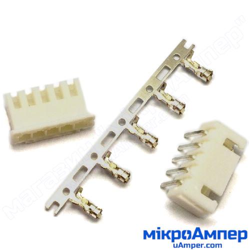 Комплект конекторів KLS1-2.50-05 (на плату і провід) кутові